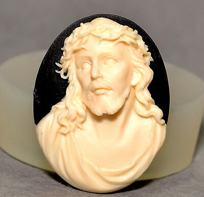 JESUS CHRIST CAMEO SILICONE MOULD Cupcake Polymer Clay Chocolate Resin Fimo Mold • 3.99£