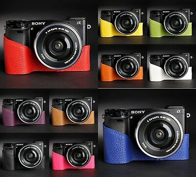 $ CDN46.81 • Buy Genuine Real Leather Half Camera Case Bag Cover For Sony A6000 10 Colors
