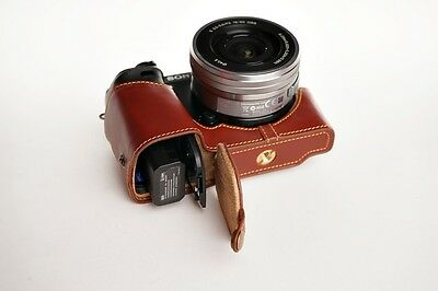 $ CDN72.36 • Buy Genuine Real Leather Half Camera Case Bag Cover For Sony A6000 Bottom Opening