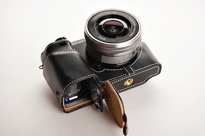 AU70.13 • Buy Genuine Real Leather Half Camera Case Bag For Sony A6000 Bottom Opening Black