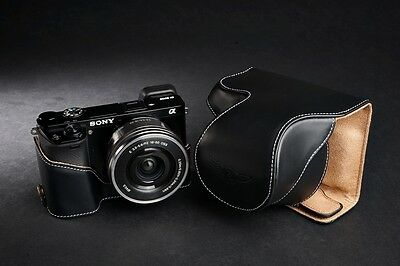 AU105.17 • Buy Genuine Real Leather Full Camera Case Bag Cover For Sony A6000 Bottom Open Black