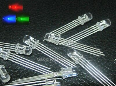 £1.85 • Buy 20pcs 5mm Round Top Water Clear Multicolor 4 Pins Common Cathode RGB LED Light