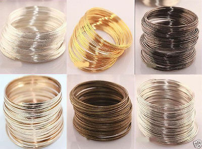 £2.32 • Buy 100/500loop Silver/Gold Plated Memory Steel Wire For Cuff Bracelet 0.6mm 6 Color