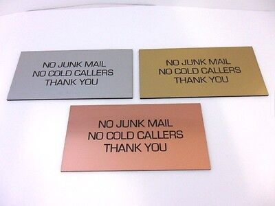 Engraved Brushed Metal Effect Plaque/Sign 100x50 No Junk Mail, No Cold Callers • 3.95£