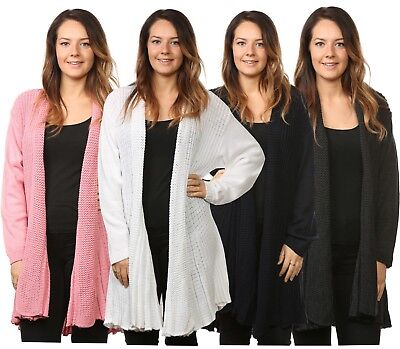 Ladies Women's Knitted Waterfall Cardigans Tops Sweaters Full Sleeves Plus Sizes • 11.99£