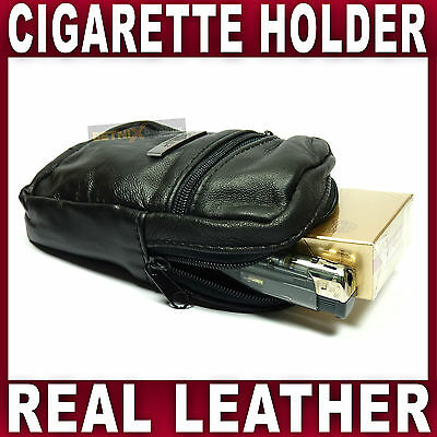 Soft Black Leather Cigarette Case & Lighter Holder Pouch Smooking Tobacco Fag • 4.49£