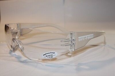 AU26.50 • Buy 2 Pairs  X   Bifocal Clear Safety Glasses Shaterproof  UV100 Workwear  +2.00
