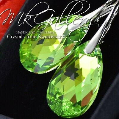 £19.99 • Buy 925 Silver Earrings/Set Made With Swarovski Crystals 22mm PEAR- Peridot AB