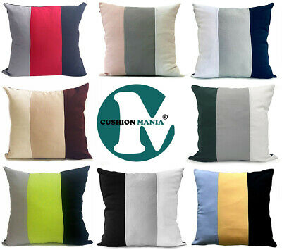 £7.99 • Buy Large 3 Tone Cushions + Covers Or Covers Only Red Black Grey White Brown Mustard