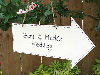 Personalised Wedding Birthday Party Directions Arrow Sign Plaque ~ Any Colours • 9£