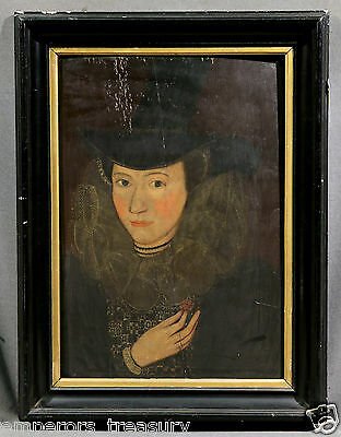 $ CDN10842.45 • Buy 17th Century European Oil Painting: Portrait Of Esther Inglis (French)