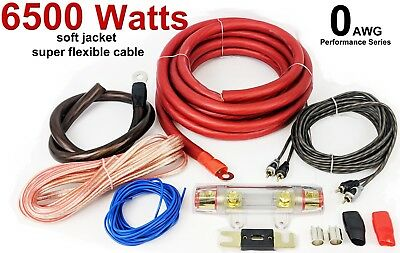 0 GAUGE Car Amp Amplifier Cable Sub Subwoofer Wiring Kit 6500 Watts GOOD QUALITY • 31.99£