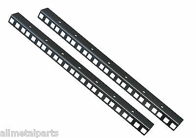 8U RACK STRIPS Black Sold In Pairs 24mm X 19mm 1.2mm Made By Allmetalparts • 10.40£
