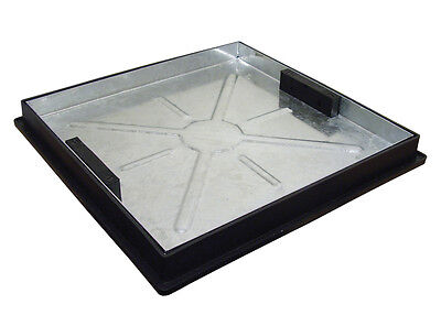 Recessed Manhole Cover With Frame 450x450x46mm Square To Round Locked And Sealed • 59.95£