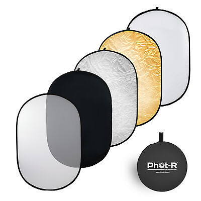Phot-R 100x150cm (40 X60 ) PRO 5-in-1 Photo Studio Collapsible Reflector+Case • 29.99£