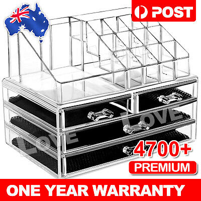 AU19.95 • Buy OZ Holder Cosmetic Makeup Organizer 4 Drawer Storage Jewellery Box Clear Acrylic