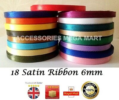 6mm Satin Ribbon Shiny Quarter Inch 1/4 Party Wedding Demanding Solid Colours  • 1.65£