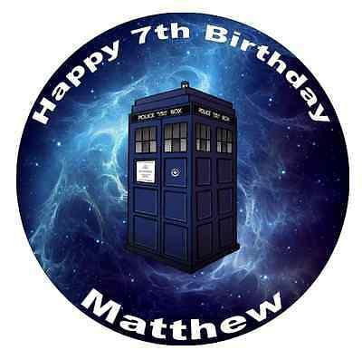 Doctor Dr Who Tardis Personalised Cake Topper 7.5  Edible Wafer Paper  • 1.90£