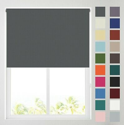 £19.99 • Buy Plain Coloured Thermal Blackout Roller Blinds, Various Colours- FREE CUT TO SIZE