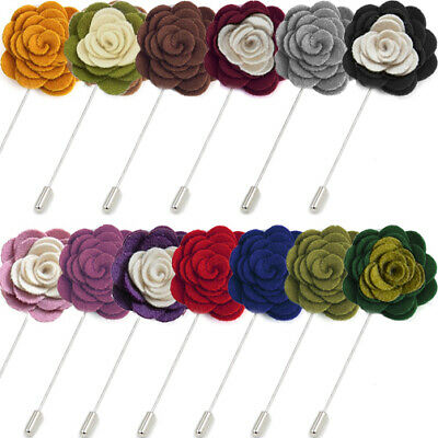 CAMELLIA LAPEL PIN Handmade Wool Flower Rose Brooch Hat Men Suit Wedding Party • 3.90£