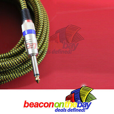 AU24.99 • Buy ASHTEC Aussie Made 20 Ft Guitar Lead Instrument Cable Braided Tweed