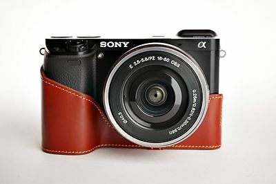 AU45.97 • Buy Handmade Genuine Real Leather Half Camera Case Bag Cover For Sony A6000 Brown