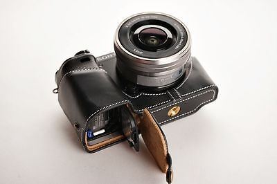 AU66.20 • Buy Genuine Real Leather Half Camera Case Bag For Sony A6000 Bottom Opening Black