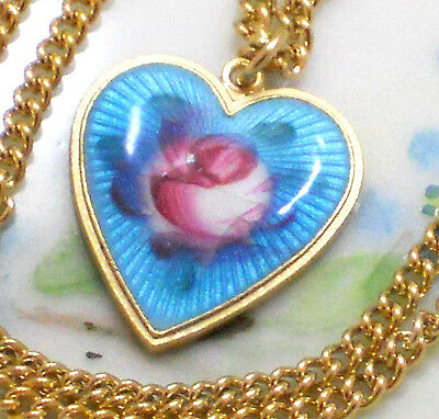 $16.99 • Buy #1457 Vintage Sarah Coventry Signed Necklace Guilloche Enamel Heart Charm Blue