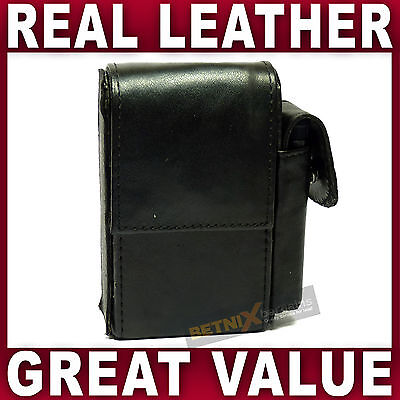 Black REAL LEATHER CIGARETTE CASE With Lighter Pouch Holder GENTS LADIES WOMENS • 7.49£
