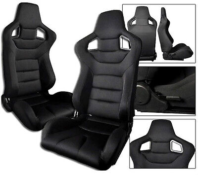 $269.99 • Buy 2 X Black Cloth Racing Seats RECLINABLE W/ SLIDERS FIT FOR ALL Ford Mustang