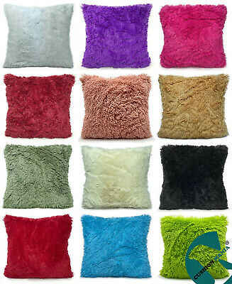Super Soft Faux Fur Cushions + Covers Or Covers Only In 8 Lovely Colours • 3.65£