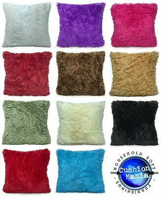 Super Soft Faux Fur Cushions + Covers Or Covers Only In 8 Lovely Colours • 3.99£