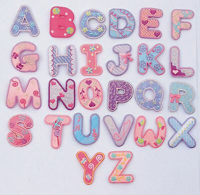 £0.99 • Buy Girls Alphabet Letters/Numbers Embroidered Motif Fabric Iron On Patch Badge