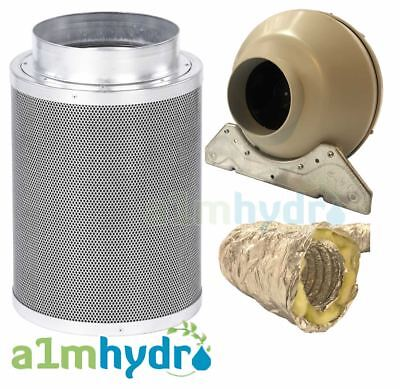 Rhino Hobby Carbon Filter Kit 150x300mm 6 Inch A1 Systemair RVK Fan Hydroponics • 104.95£