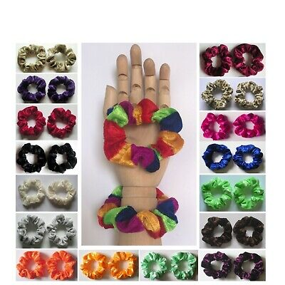 $ CDN4.32 • Buy 2 X SMALL VELVET SCRUNCHIE (child / Thin Hair) - Choice Of Colour *MADE IN UK*