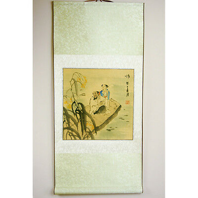 New 35  Chinese Oriental Hand Painted Grandad Kid Scroll Wall Hanging Picture  • 19.49£