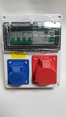 Garage Hook Up,RCD Wall Mounted Industrial CEE Socket.3 Phase Distribution Board • 72.99£