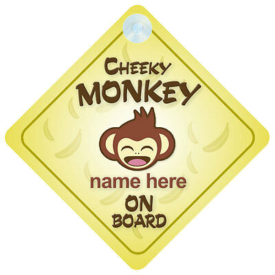 £3.99 • Buy Cheeky Monkey On Board Personalised Baby/Child Car Sign