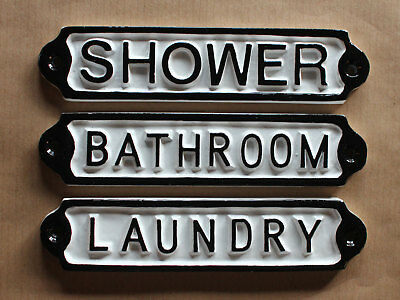 Laundry Bathroom Shower Vintage Cast Metal Door Signs Quality British Made Signs • 10.99£