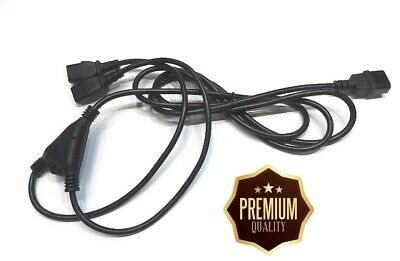 2.5m Cable IEC C14 Male To 2 X IEC C13 Female Y Split PC Kettle Power Lead Cable • 7.99£