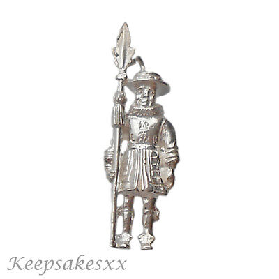 Sterling Silver BEEFEATER  Soldier Tower Of London UK 925 3D NEW Charm Charms • 14.95£