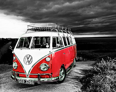 £18 • Buy VW Camper Van Red Canvas Stretched Wall Art Poster Print Surfing Campervan