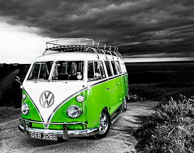 £18 • Buy VW Camper Van Green Canvas Stretched Wall Art Poster Print Surfing Campervan