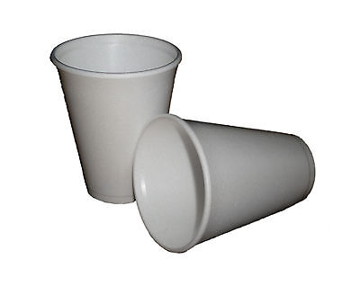 100 - 12oz WHITE FOAM / POLYSTYRENE DISPOSABLE PARTY CUPS + SPECIAL OFFER • 12.50£