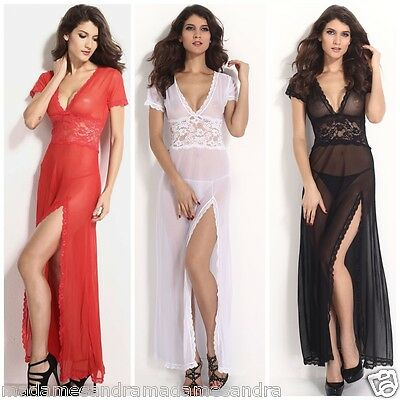 £10.99 • Buy See Through Negligee Long Gown Babydoll Daring Sheer Chemise Nightdress Lingerie