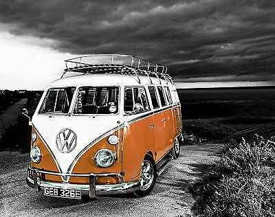 £20 • Buy VW Camper Van Orange Canvas Stretched Wall Art Poster Print Surfing Campervan