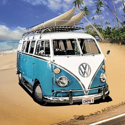 £18 • Buy Vw Camper Van Stretched Canvas Wall Art Poster Print Beach Surfing Beetle Car