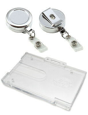 Heavy Duty Chrome Retractable Reel & Enclosed Or Badge Buddy ID Card Holder Lot • 2.11£