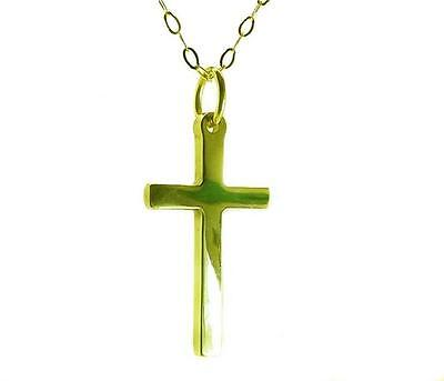 9ct Gold Small Heavy Cross Pendant & 16 ,18 ,20  Trace Chain   Gift Boxed  • 79.99£