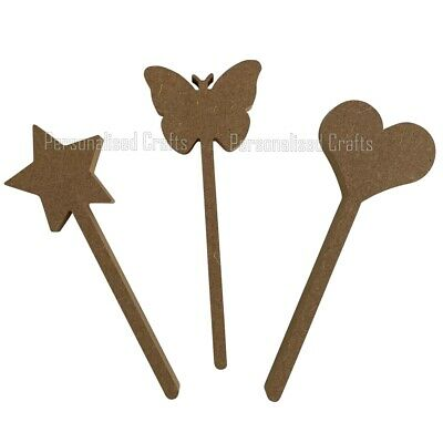 Wooden 18mm MDF Magic Wand  With  Star,Heart,Butterfly Shape Crafts  • 1.99£
